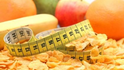 Cinta de la medida y la comida sana